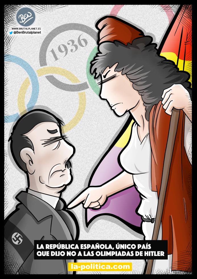 Juegos Olímpicos de Hitler - Olimpiada Popular Barcelona - Viñeta de Ben - LA REPÚBLICA ESPAÑOLA, ÚNICO PAÍS QUE DIJO NO A LAS OLIMPIADAS DE HITLER.