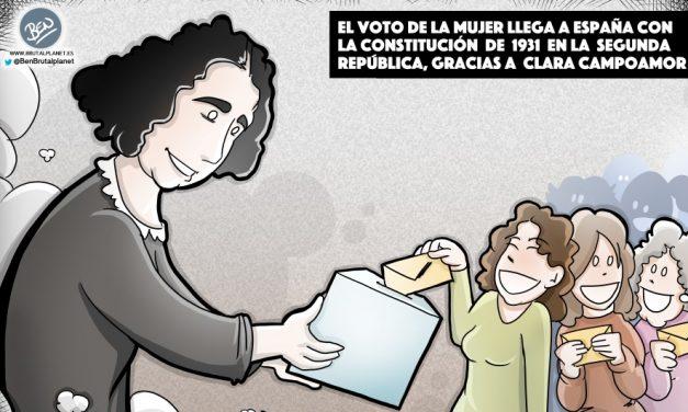 Clara Campoamor, tenaz, valiente y políticamente molesta, representa el feminismo, el voto de la mujer y la República.