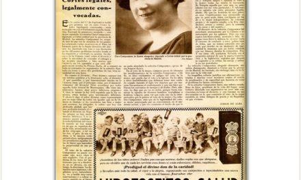 El primer discurso de una mujer en las Cortes Española, fue llevado a cabo por Clara Campoamor