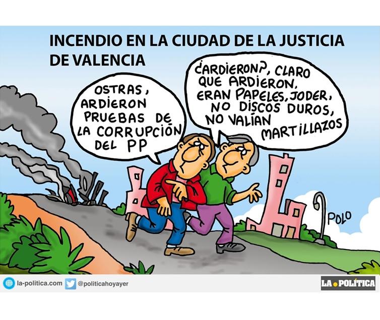 """El incendio de La Ciudad de la Justicia de Valencia parece que """"huele a chamusquina"""""""
