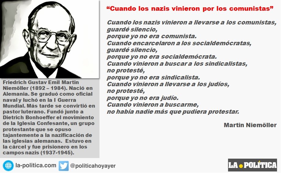 """Martin Niemöller: """"Cuando los nazis vinieron por los comunistas"""""""