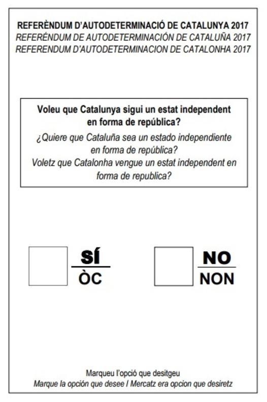 Papeleta para el Referendum de Cataluaña