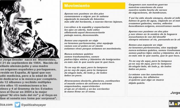 """Movimiento de Jorge Drexler: """"Somos una especie en viaje no tenemos pertenencias, sino equipaje"""""""