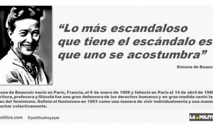 """Simone de Beauvoir: """"Lo más escandaloso que tiene el escándalo es que uno se acostumbra."""""""