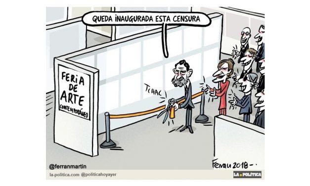 La primera obra censurada y retirada tras 37 ediciones de la feria de arte contemporáneo Arco, será expuesta hoy lunes en Madrid y el jueves en Valencia