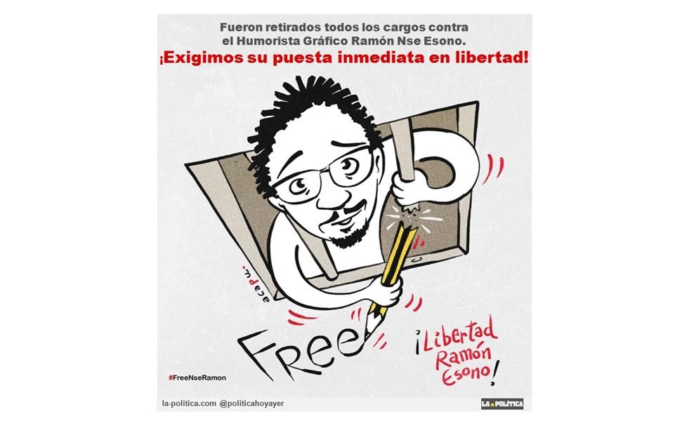 El Humorista Gráfico Ramón Nse Esono aun permanece en prisión, a pesar de que la fiscalía retiró todos los cargos ¿Qué está pasando? #FreeNseRamon #LibertadHumoristaEsono