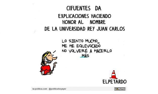 """Cifuentes renuncia a su """"máster invisible"""" de la URJC y pide disculpas al más puro estilo """"Rey Juan Carlos"""". Muy propio todo"""