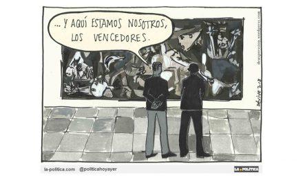 El Rey de España acompaña a Obama a ver el Guernica y le explica cómo ha concedido el Ducado de Franco a la nieta del autor del crimen ¿O no ha sido así?