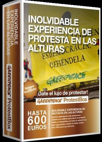 """""""Greenpeace ProtestBox"""", """"una inolvidable experiencia de la protesta en las alturas"""""""