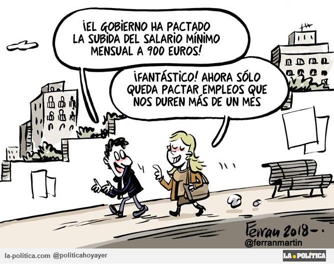 """Podemos y PSOE pactan unos presupuestos progresistas que recogen un salario mínimo de 900 Euros y la derecha se """"lleva las manos a la cabeza"""" Artículo Simone Renn Viñetas Ferran Martín y Polo"""