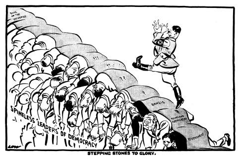 """Viñeta de David Low - El genial #DavidLow 8-07-1936 sobre #Hitler """"Pasos hacia la gloria. Principales líderes de la democracia"""""""