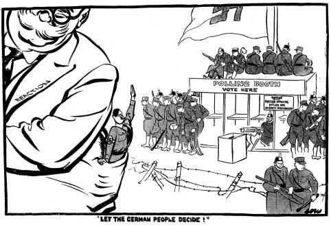 Let the german peolple decide. (Viñeta de David Low. 1.933)