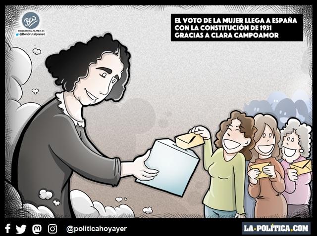 EL VOTO DE LA MUJER LLEGA A ESPAÑA CON LA CONSTITUCIÓN DE 1931 GRACIAS A CLARA CAMPOAMOR. (Viñeta de Ben)