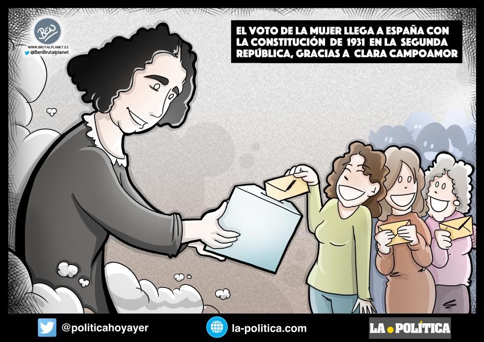 EL VOTO DE LA MUJER LLEGA A ESPAÑA CON LA CONSTITUCIÓN DE 1931 EN LA SEGUNDA REPÚBLICA, GRACIAS A CLARA CAMPOAMOR. (Viñeta de Ben)
