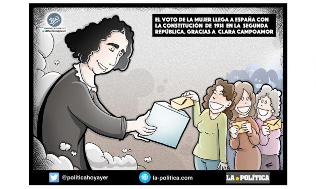 Clara Campoamor, tenaz, valiente y políticamente molesta, representa el feminismo, el voto de la mujer y la República. Viñeta Ben