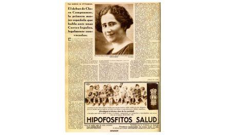 El primer discurso de una mujer en las Cortes Españolas democráticas, fue llevado a cabo por Clara Campoamor