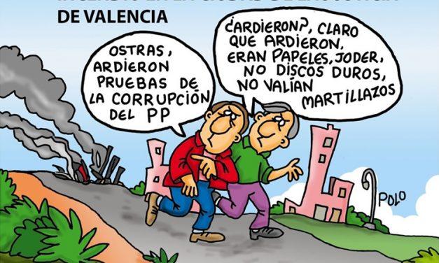 """El incendio de La Ciudad de la Justicia de Valencia parece que """"huele a chamusquina"""" Viñeta de Polo #CorrupciónPP"""