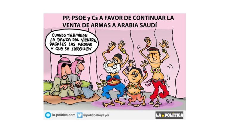 PP PSOE y C´s sellan sus labios ante las violaciones de derechos humanos de Arabia Saudí y aprueban venta de armas. Viñeta de Polo
