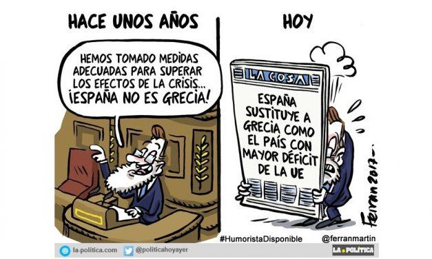 """España no es Grecia, decían… Pues no, no lo es. """"España sustituye a Grecia como el país con mayor déficit de la UE"""""""