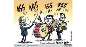 El PSOE se une a la comparsa de PP y C´s para anunciar a bombo y platillo la aplicación de un duro e inaudito 155. Viñeta de Ferran Martín