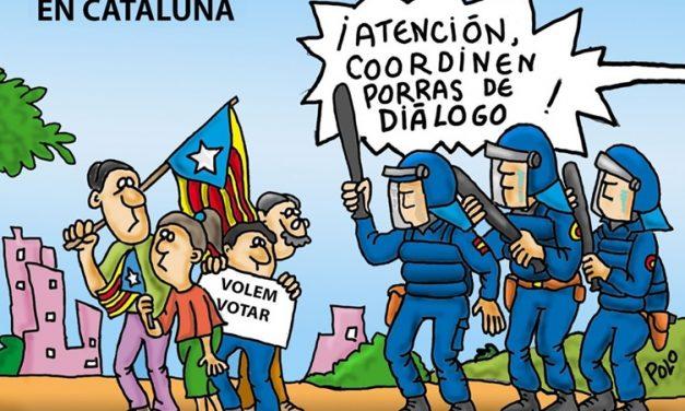 """""""Las porras del diálogo"""". La Generalitat cifra en más de 400 los heridos y contusionados causados debido a la actuación policial. Viñeta de Polo"""
