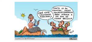 """Cantos de sirena """"macroeconómicos"""" tratan de tapar 13 millones de españoles en riesgo de pobreza, y el hecho de que hoy hay más población en riesgo de exclusión social que en 2011, cuando el PP llegó al Gobierno. viñeta de Polo"""