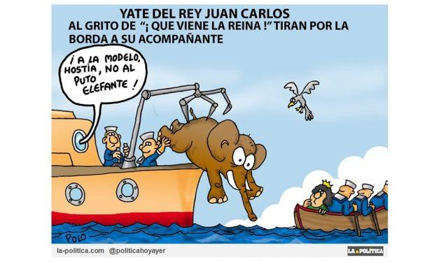 """Según """"Il Corriere della Sera"""" los hombres de servicio del rey Juan Carlos lanzaron a una modelo al mar desde su barco, cuando se dieron cuenta de que la reina Sofía estaba llegando al yate Viñeta de Polo"""