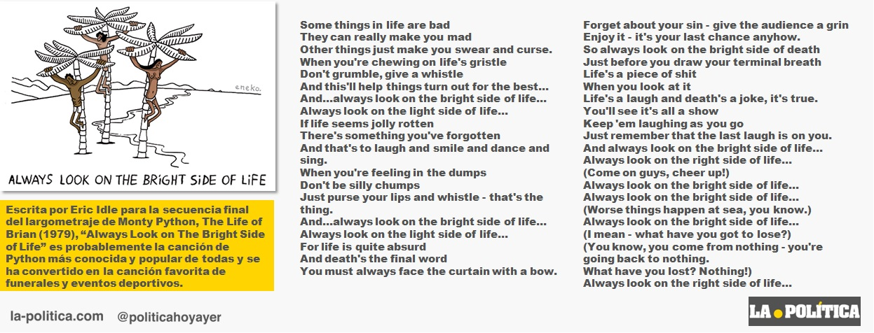 "Monty Python: ""Always look on the bright side of life"" Letra en inglés Viñeta Eneko Artículo Simone Renn"