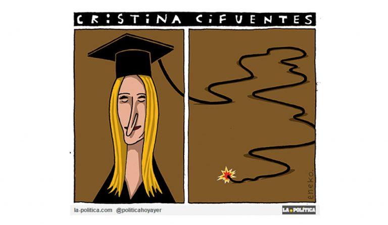 En entredicho la autenticidad del Máster de la Presidenta de la Comunidad de Madrid y máxima responsable de la Universidad Madrileña, Cristina Cifuentes Viñeta de Eneko