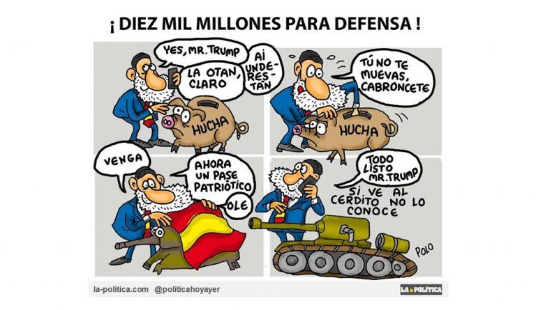 Con más de un 20% de españoles en riesgo de pobreza, los pensionistas en las calles y cuarteles desatendidos ¿Se decide invertir 10.000 millones en armamento? Viñeta Polo Artículo Simone Renn