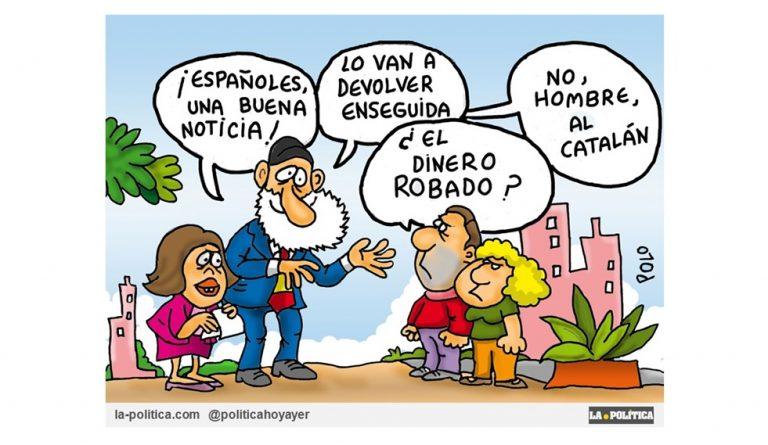 No está claro que la justicia de la República Federal Alemana entregue a Carles Puigdemont a la justicia española. Viñeta de Polo