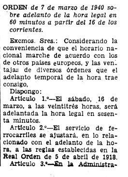 Orden que cambia el horario en España, emitida por el gobierno de la dictadura franquista