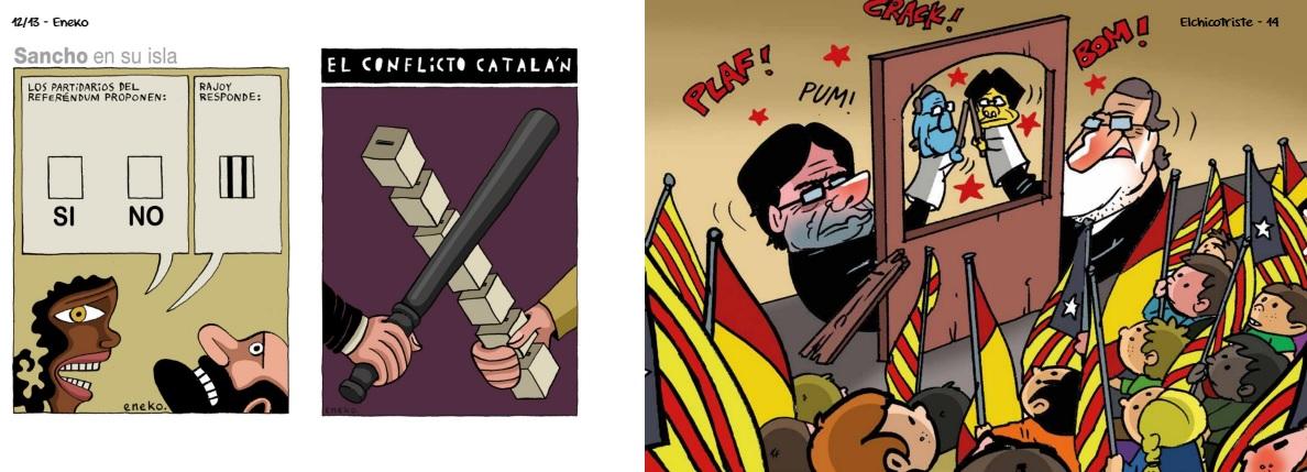 """Viñetas del libro """"155 dibuixos contra el 155"""""""