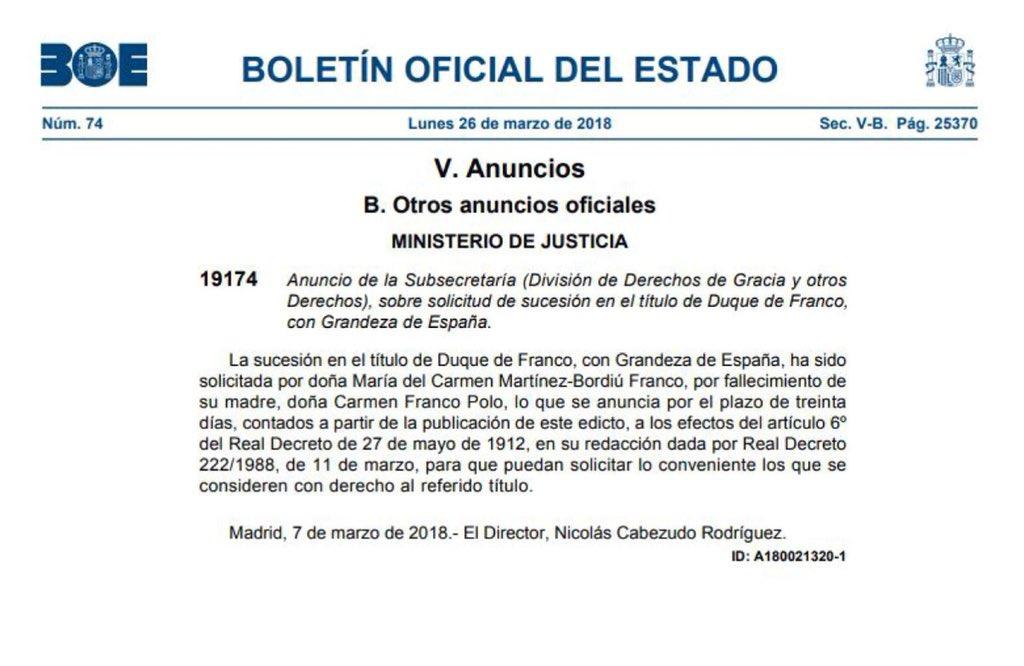 Solicitud del Ducado de Franco por Carmen Martínez Bordiu
