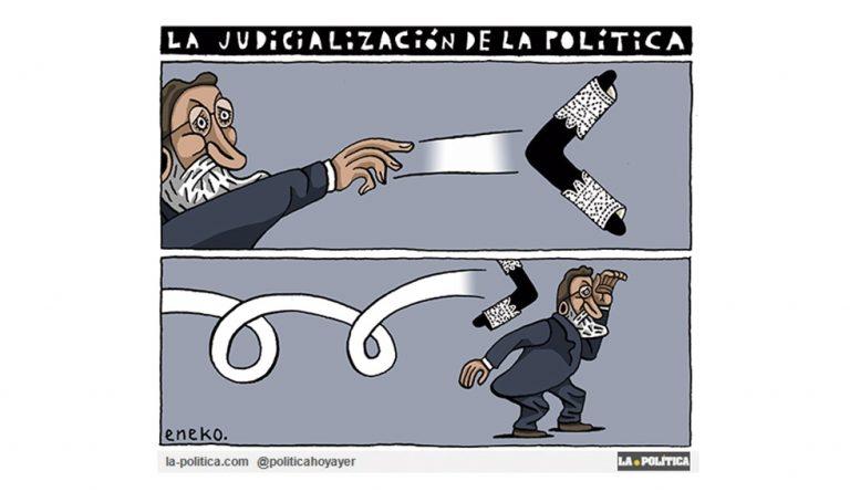 Una semana de Justicia. Jueces y fiscales se concentran para poner de manifiesto la falta de independencia en la Justicia Española, y la Justicia Alemana descarta el delito de rebelión de Puigdemont Viñeta Eneko