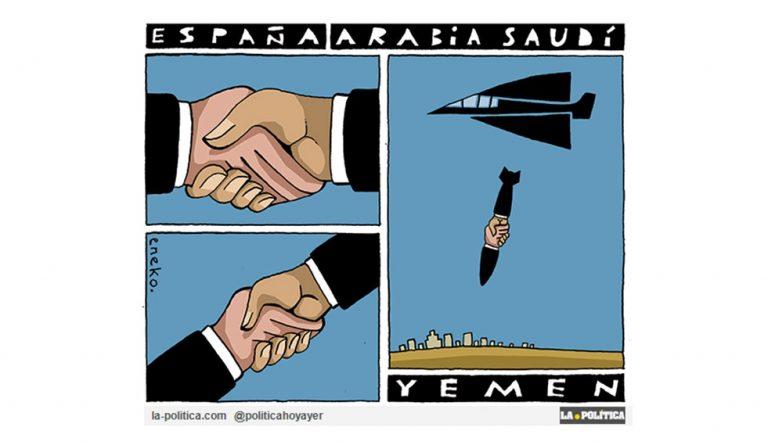 ¿Conseguir empleos vendiendo armamento a Arabia Saudí para matar a civiles en Yemen? ¡No en mi nombre! Viñeta Eneko Artículo Simone Renn