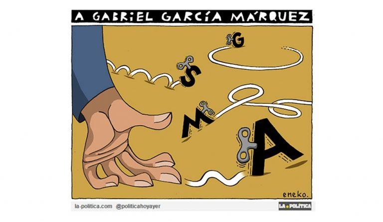 """Nuestro homenaje a Gabriel García Márquez, añadiendo un mensaje más, en forma de viñeta, al proyecto """"Un millón de mensajes a Gabo"""" Viñeta Eneko Artículo Simone Renn"""
