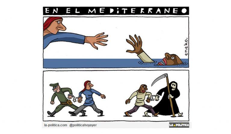 """El """"delito"""" de rescatar personas Artículo Caracola Viñeta Eneko"""