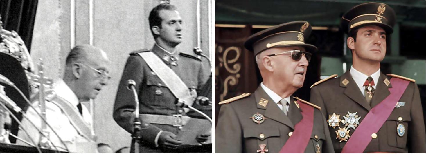 Rey Juan Carlos con el Dictador Francisco Franco