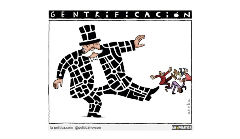 La gentrificación avanza con sus mafiosas maneras blindadas por injustas leyes, expulsando a los habitantes de la ciudad. 174 desahucios al día en 2017, hoy 6 de cada 10 son por alquiler Viñeta Eneko Artículo Simone Renn