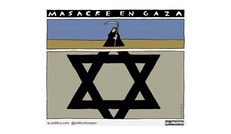 Las respuestas de las autoridades israelíes ante la Masacre en Gaza indignan al mundo, mientras USA amordaza a la ONU Viñeta Eneko