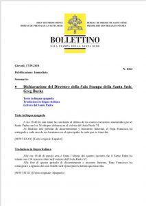 Nota de prensa del Vaticano - Obispos de Chile