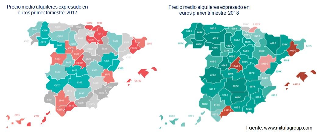 Mapa precios alquileres España 2017-2018