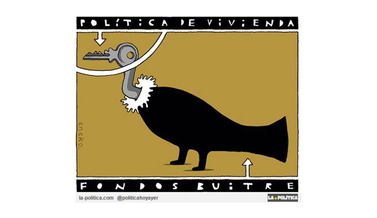 Los fondos buitre: señores del ladrillo, la sanidad y las residencias de ancianos, tienen su cumbre en Madrid Artículo Simone Renn Viñeta Eneko
