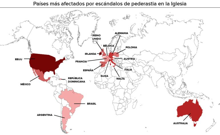 Mapa de casos de pedofilia de la Iglesia Católica