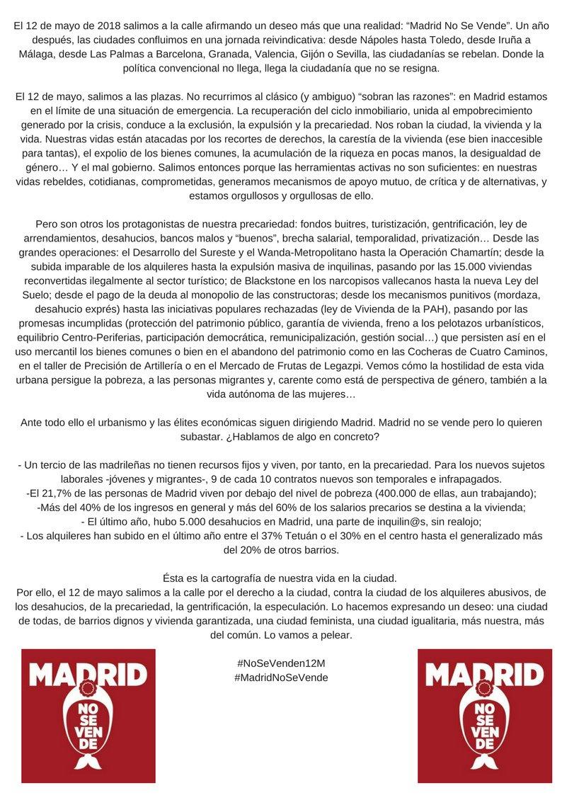 Manifiesto de #MadridNoSeVende