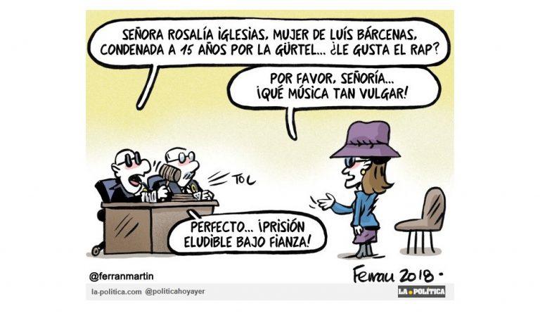 La fianza de Rosalía Iglesias por delitos de blanqueo de capitales o intento de estafa procesal es curiosamente inferior a la impuesta a un youtuber Artículo Simone Renn Viñeta Ferran Martín