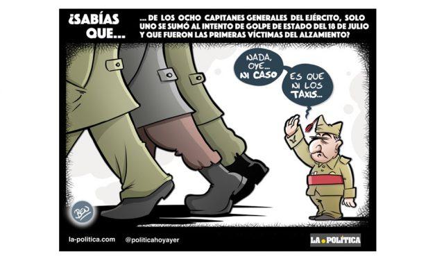 Tan solo uno de los ocho capitanes generales del Ejército de la República se unió a los militares rebeldes fascistas en el intento de golpe de Estado del 36