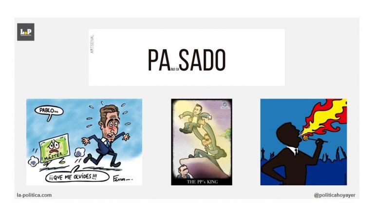 Pablo Casado una vuelta al PASADO y un ensalzamiento del sionismo. Viñetas de Artsenal, Ben y Ferran Martín Artículo de Simone Renn