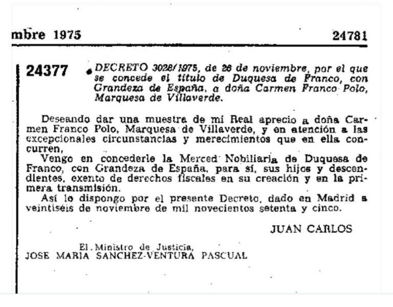 Concesión del Ducado de Franco a la mujer del dictador Carmen Polo